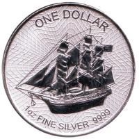 """Корабль """"Индевор"""". Монета 1 доллар. 2017 год, Острова Кука."""