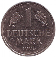 Монета 1 марка. 1990 год (F), ФРГ. Из обращения.