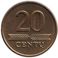 Монета 20 центов. 1999 год, Литва. Из обращения.
