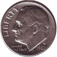 Рузвельт. Монета 10 центов. 1982 (D) год, США.