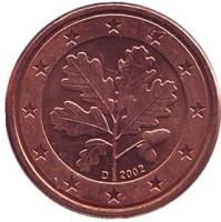 Монета 1 цент. 2002 год (D), Германия.