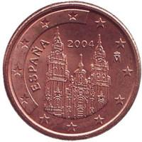 Монета 1 цент, 2004 год, Испания.