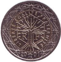 Монета 2 евро. 2001 год, Франция.