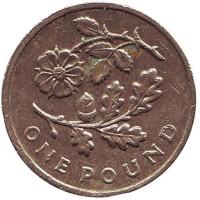 Флора Англии. Роза и дуб. Монета 1 фунт. 2013 год, Великобритания.