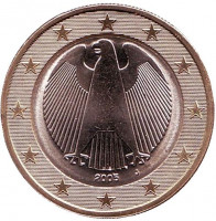 Монета 1 евро. 2005 год (J), Германия.