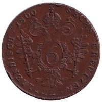 Монета 6 крейцеров. 1800 год (S), Австрия.