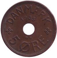 Монета 5 эре. 1935 год, Дания.