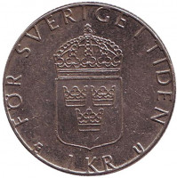 Монета 1 крона. 1983 год, Швеция.