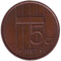 5 центов. 1997 год, Нидерланды.