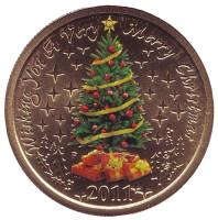 Счастливого Рождества. Ёлка. Монета 1 доллар. 2011 год, Австралия.