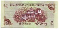Монастырь Такцанг-лакханг. Банкнота 5 нгултрумов. 2011 год, Бутан.