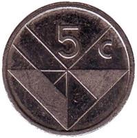 Монета 5 центов. 2008 год, Аруба.