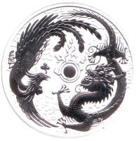 Феникс и дракон. Монета 1 доллар. 2017 год, Австралия.