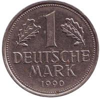 Монета 1 марка. 1990 год (G), ФРГ. Из обращения.