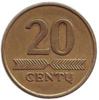 Монета 20 центов. 2008 год, Литва. Из обращения.
