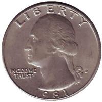Вашингтон. Монета 25 центов. 1981 (D) год, США.