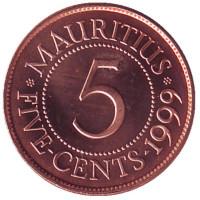 5 центов, 1999 год, Маврикий. UNC