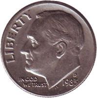 Рузвельт. Монета 10 центов. 1983 (D) год, США.