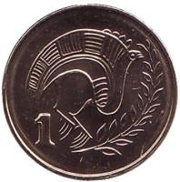 Птица. Монета 1 цент. 2004 год, Кипр. UNC.