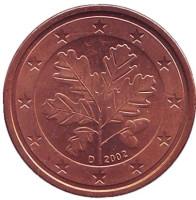 Монета 2 цента. 2002 год (D), Германия.