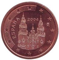 Монета 5 центов. 2004 год, Испания.
