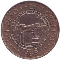 125 лет Республике. Монета 1 песо. 1969 год, Доминиканская республика.