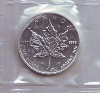 Кленовый лист. Монета 5 долларов. 1991 год, Канада. (в запайке)