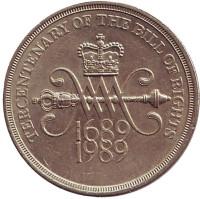 "300 лет ""Биллю о правах"" Англии. Монета 2 фунта. 1989 год, Великобритания."
