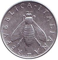 Медоносная пчела. Монета 2 лиры. 1959 год, Италия.