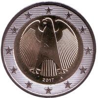 Монета 2 евро. 2017 год (A), Германия.