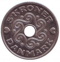 Монета 5 крон. 2002 год, Дания.