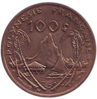 Скалистый остров Муреа. Монета 100 франков. 1991 год, Французская Полинезия.