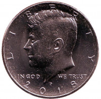 Джон Кеннеди. Монета 1/2 доллара (50 центов), 2018 год (P), США.