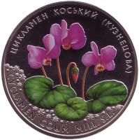 Цикламен косский (Кузнецова). Монета 2 гривны. 2014 год, Украина.