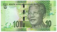 Нельсон Мандела. Банкнота 10 рандов. 2013-2016 гг., ЮАР. (Подпись: Kganyago)