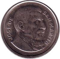 Генерал Хосе де Сан-Мартин. Монета 10 сентаво. 1956 год, Аргентина.