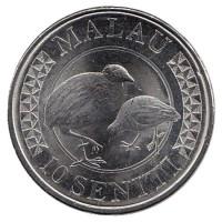 Тонганский большеног. (Малау). Монета 10 сенити. 2015 год, Тонга.