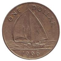 Парусник. Монета 1 доллар. 1996 год, Бермудские острова.
