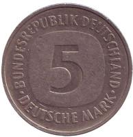 Монета 5 марок, 1975 год (F), ФРГ.