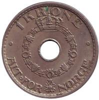 Монета 1 крона. 1950 год, Норвегия.