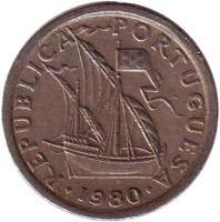 Монета 2,5 эскудо. 1980 год, Португалия.