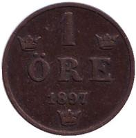 Монета 1 эре. 1897 год, Швеция.