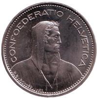 Вильгельм Телль. Монета 5 франков. 1982 год, Швейцария. UNC.