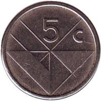 Монета 5 центов, 2010 год, Аруба.