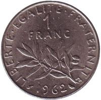 Монета 1 франк. 1962 год, Франция.