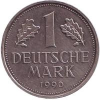 Монета 1 марка. 1990 год (J), ФРГ. Из обращения.
