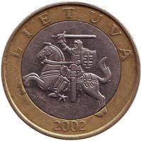 Рыцарь. Монета 2 лита. 2002 год, Литва. Из обращения.
