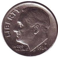 Рузвельт. Монета 10 центов. 1984 (D) год, США.