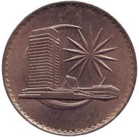 Здание парламента. Монета 1 ринггит. 1971 год, Малайзия.