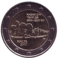 Хаджар-Ким. Доисторические города Мальты. Монета 2 евро. 2017 год, Мальта.